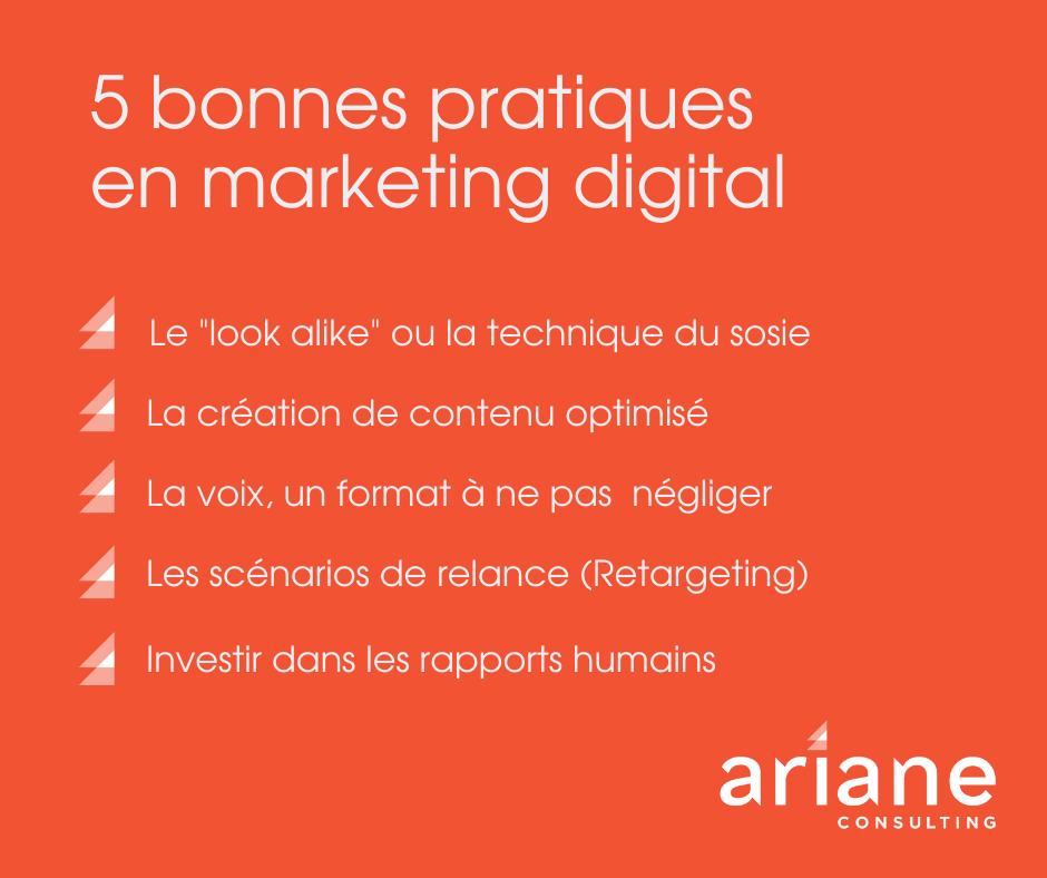Liste des 5 bonnes pratiques en matière de marketing digital